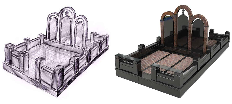 Эскиз и 3D модель памятника